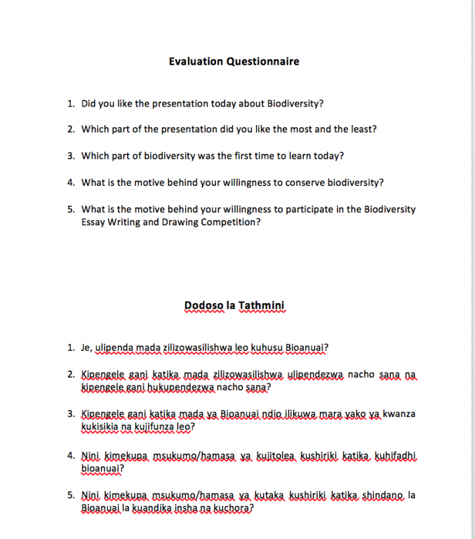 evaluation questionnaire of the biodiversity awareness session  evaluation questionnaire of the biodiversity awareness session